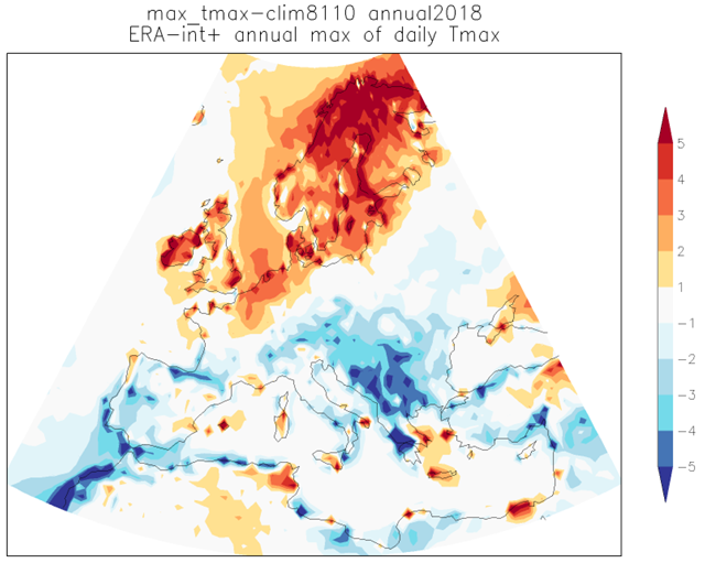 "The hottest 3-day average of Tmax in 2018 (ECMWF analyses up to 24 July 2018, forecasts up to 31 July 2018) compared to the highest 3-day maximum temperature in the period 1981-2010 that is currently the ""normal"" period (ERA-interim). Along coasts there are artefacts from comparing the high-resolution analyses with the lower-resolution ERA-interim reanalysis. Graphic: World Weather Attribution"
