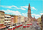 Groningen. Martini toren met voor de toren Amsterdam - Rotterdam Bank en rechts oker gele gebouw  Nationale Levensverzekering bank. Kaart is 10.50 x 14.50.  Gelopen gestempeld in 1980.