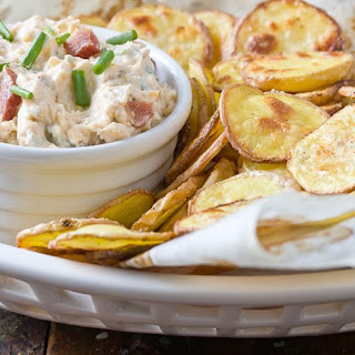 Loaded Baked Potato Dip with Homemade Chips.