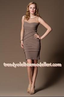 trendyol sandro Üstü Tül Vizon Elbise