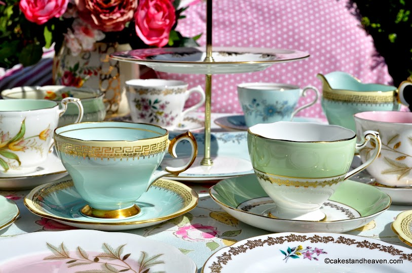 Mismatched vintage bone china tea set in pastel colours