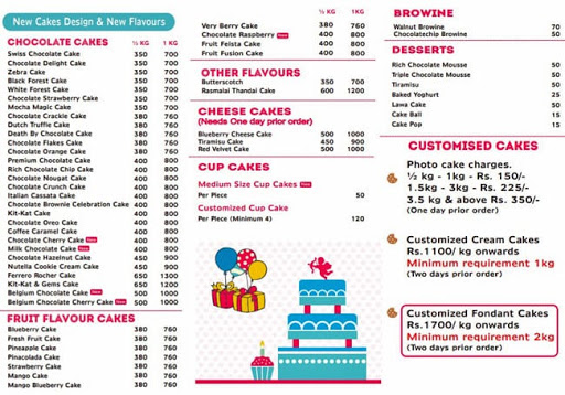 Cake Star menu 1