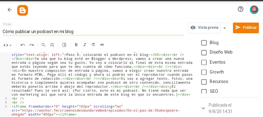 html de podcast en mi blog