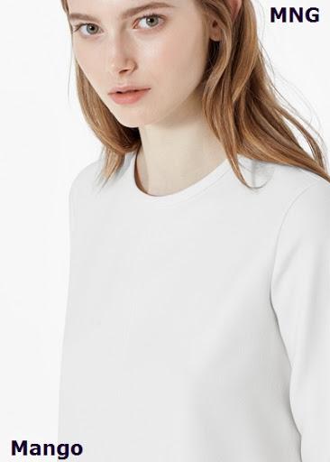 Vestido blanco escote básico de Mango
