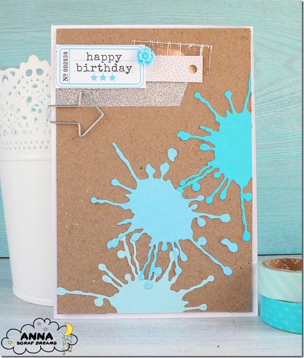 Card compleanno con macchie di colore