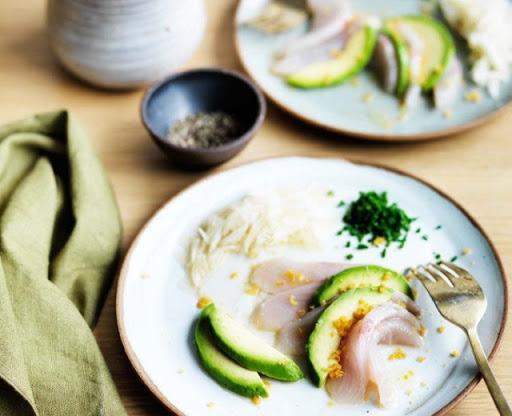 Shima aji with pomelo and avocado