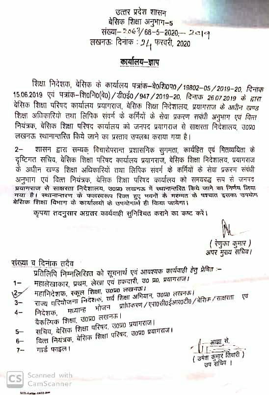 बेसिक शिक्षा विभाग में सभी कार्यालय अब लखनऊ शिफ्ट होंगे,आदेश जारी basic shiksha parishad now on lucknow