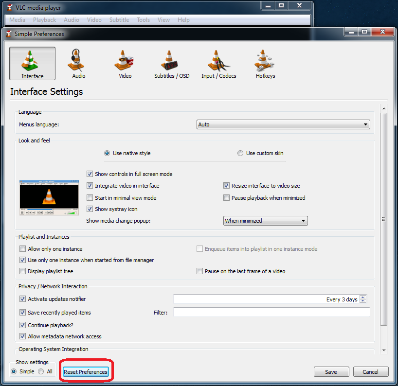 VLC Reset Preferences