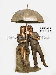 Bronze, Children, Fountain, Statue, Umbrella