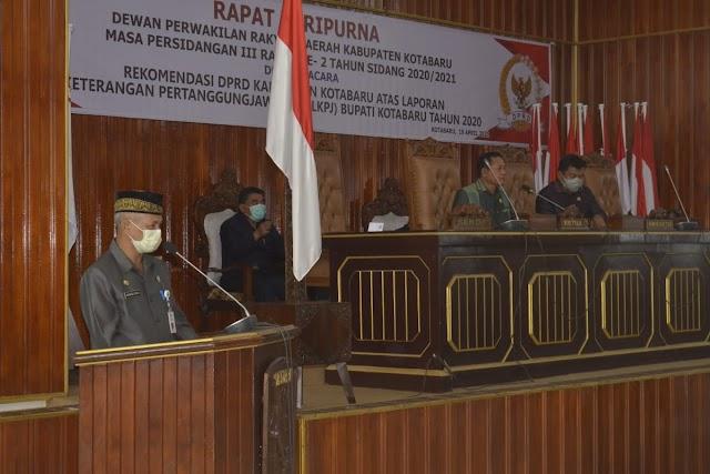 Di DPRD, Eksekutif Sampaikan Rekomendasi tentang LKPj Bupati Kotabaru
