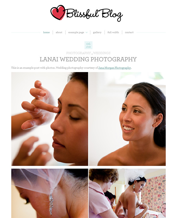 Blissful Blog WordPress Wedding Theme