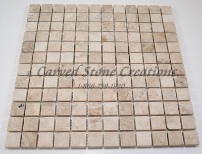 1x1 Crema Cappucino Marble Tumbled Mosaic