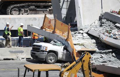 Photos: Footbridge collapses over Miami highway, fatalities