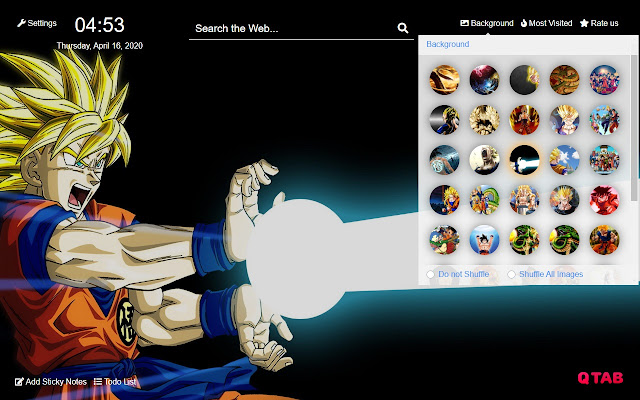 Dragon Ball Z New Tab Hd Background Theme