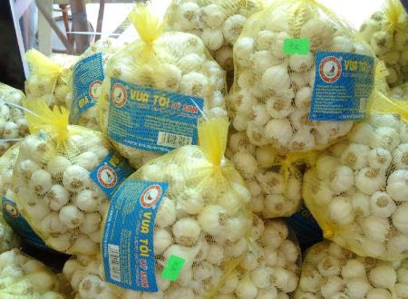 Tỏi Lý Sơn đóng nhãn mác được bán với giá đắt hơn với nửa kg tỏi thường là 70.000 đồng.