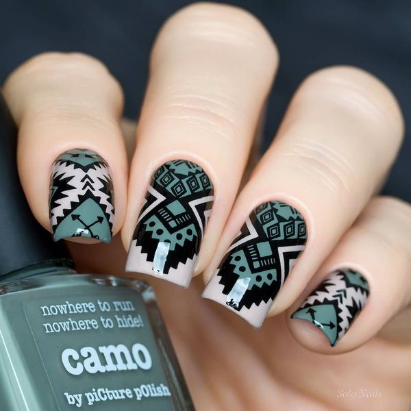 Manicure with Tribal Nail Art Designs - fashionist now