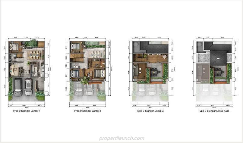 Denah Rumah Heritage Residence Puri 11 Tipe 9 Standard
