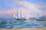 Irlandczyk wychodzi w morze, olej, płótno, 27x41cm