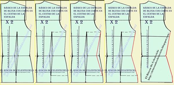 Eliminando la pinza en el patrón básico de espalda con corte en el centro