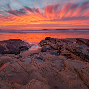 Burning Sea by João Freire - Landscapes Sunsets & Sunrises ( vivid colours, sunset, sea, beach, portugal, landscape, rocks, , reflection, reflections, people, places, architecture, building, garyfonglandscapes, holiday photo contest, photocontest, HDR, Landscapes )