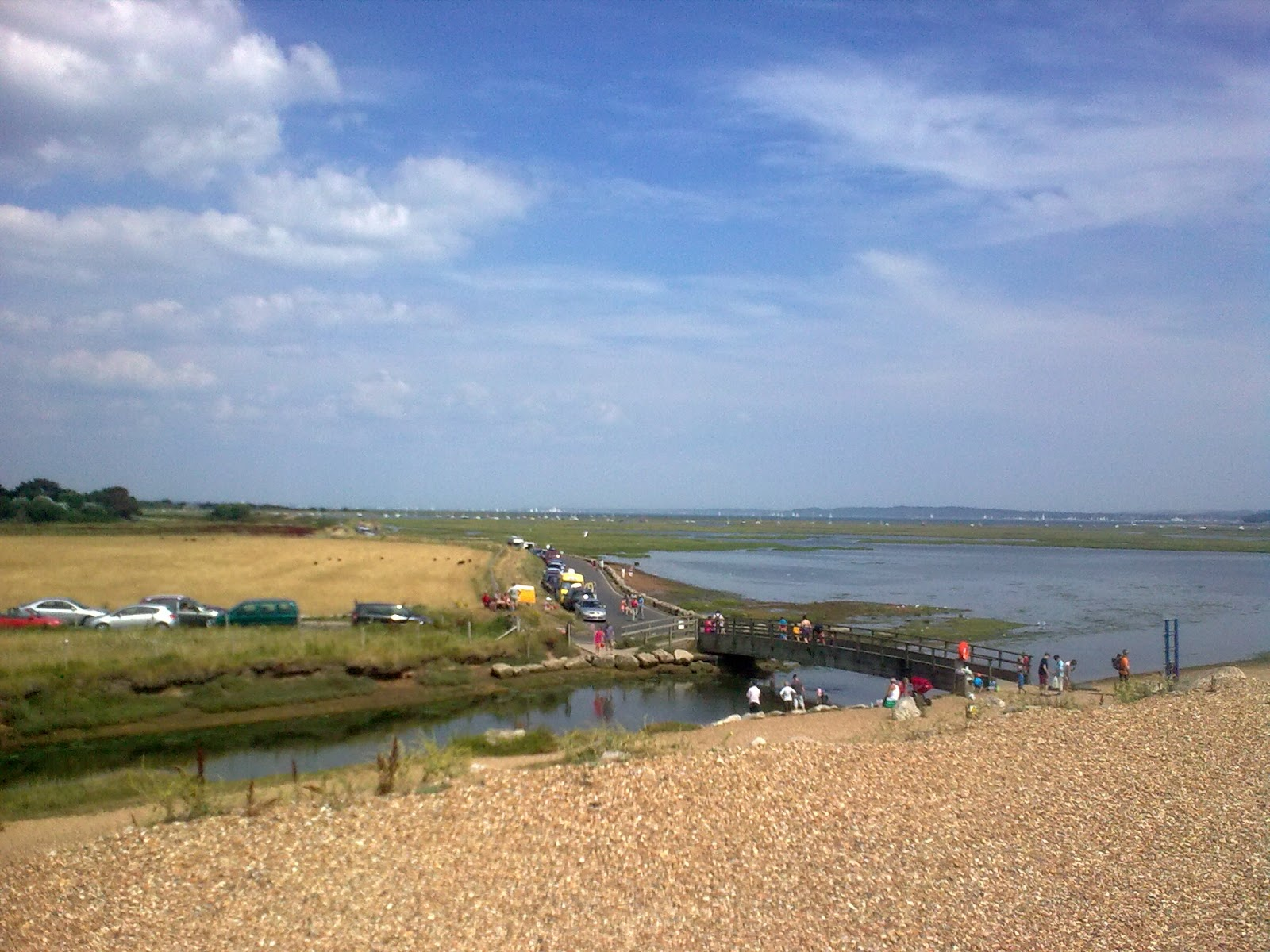Image0320 shingle split to hurst castle - view over Keyhaven harbour