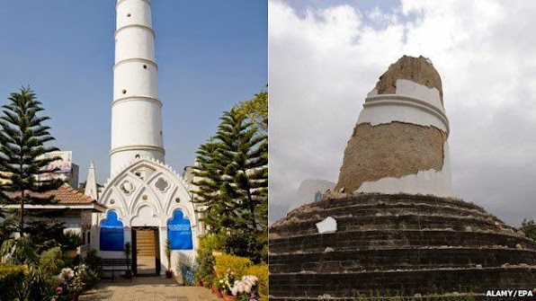 Thap Dharahara noi tieng tai thu do Kathmandu truoc va sau dong dat Anh