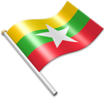 The Burmese flag on a flagpole clipart image