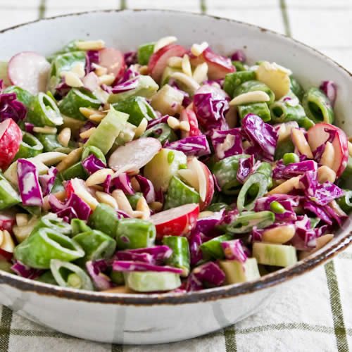 Asian Chopped Salad with Broccoli Stems, Sugar Snap Peas, Radishes, Red Cabbage, and Almonds found on KalynsKitchen.com
