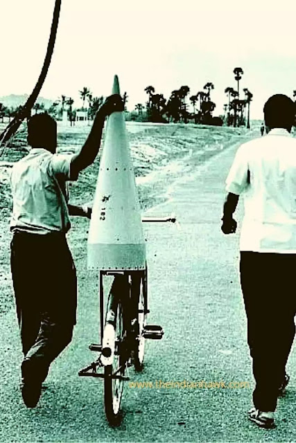 India's first rocket being carried on a bicycle
