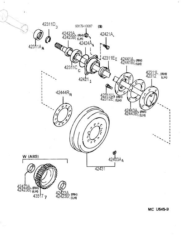 4runner rear axle bearing parts diagram