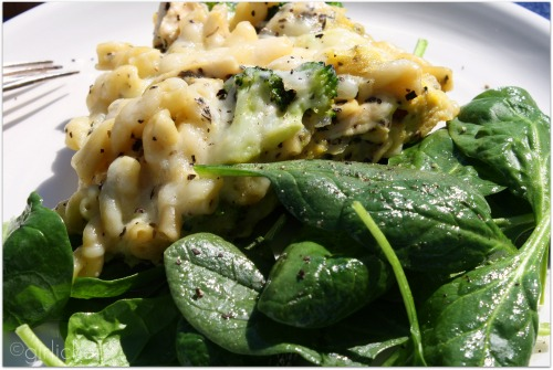 girlichef: Chicken and Broccoli Pasta Frittata with a Simple Spinach ...