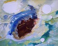 """""""Wellen"""", Acryl mit Schnüren auf Leinwand, 50x40, 2007"""