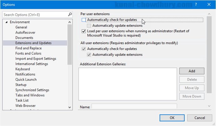 Visual Studio 2015 - Automatically check for extension updates disabled (www.kunal-chowdhury.com)