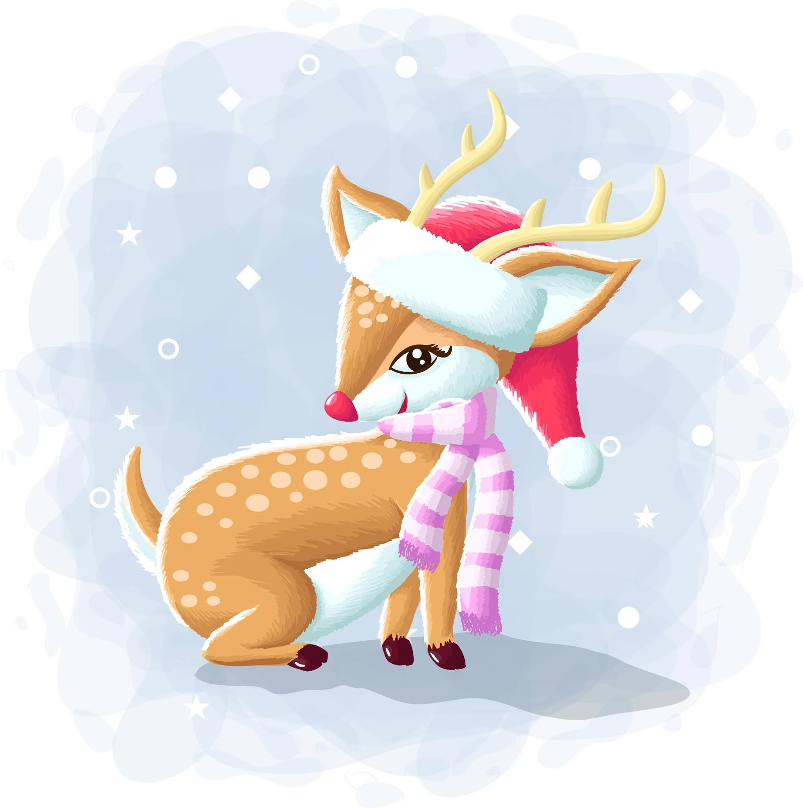 Cartoon Cute Deer Merry Christmas Illustration Free Download Vector CDR, AI, EPS and PNG Formats