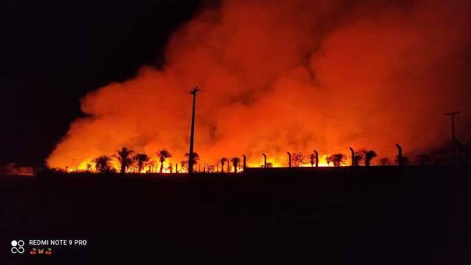 Incêndio consome fazenda nas margens da BA -131 em Miguel Calmon
