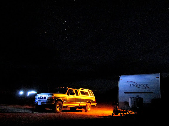 Truck and trailer at night