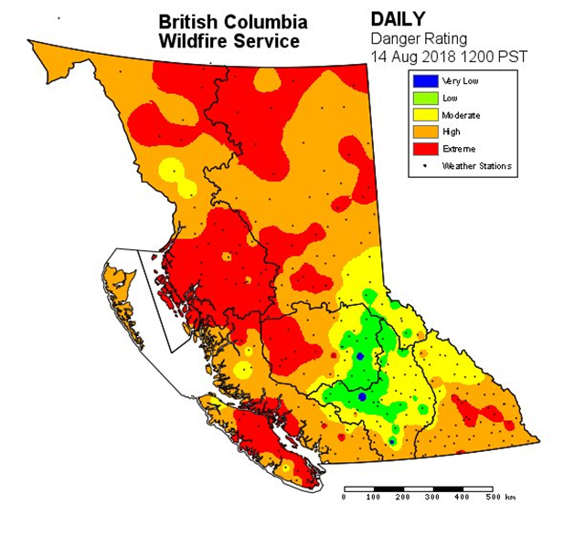 Fire danger map for British Columbia on 14 August 2018. With over 560 fires burning, BC continues to experience heightened BC wildfire activity. 3370 personnel are supporting ongoing wildfire response efforts. Graphic: BC Wildfire Service