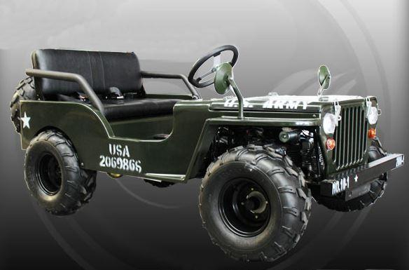 125cc US Army Jeep Mini Kids Offroad Buggy