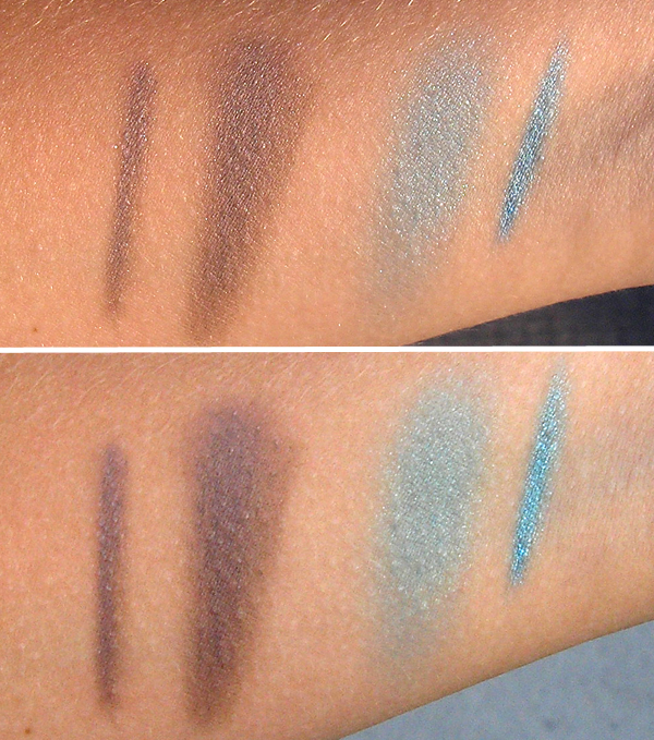 Maybelline Color Tattoo 24 Hour - 20 Turquoise Forever и 40 Permanent Taupe - свотчи