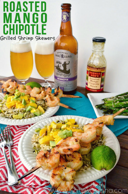 Roasted Mango Chipotle Grilled Shrimp Skewers using products from @WorldMarket from KatiesCucina.com  #CelebratingDad #Recipe #grilling