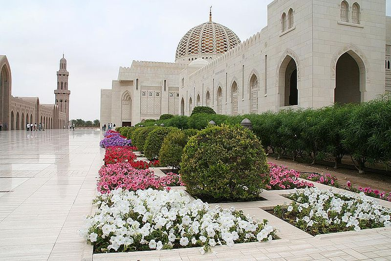 Oman - Muscat, Sultan Qaboos bin Said Grand-Mosque with flowers