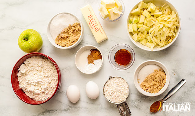 Ingredients for apple cinnamon muffins