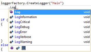 Intellisense mostrando métodos extensores de ILogger para registrar eventos