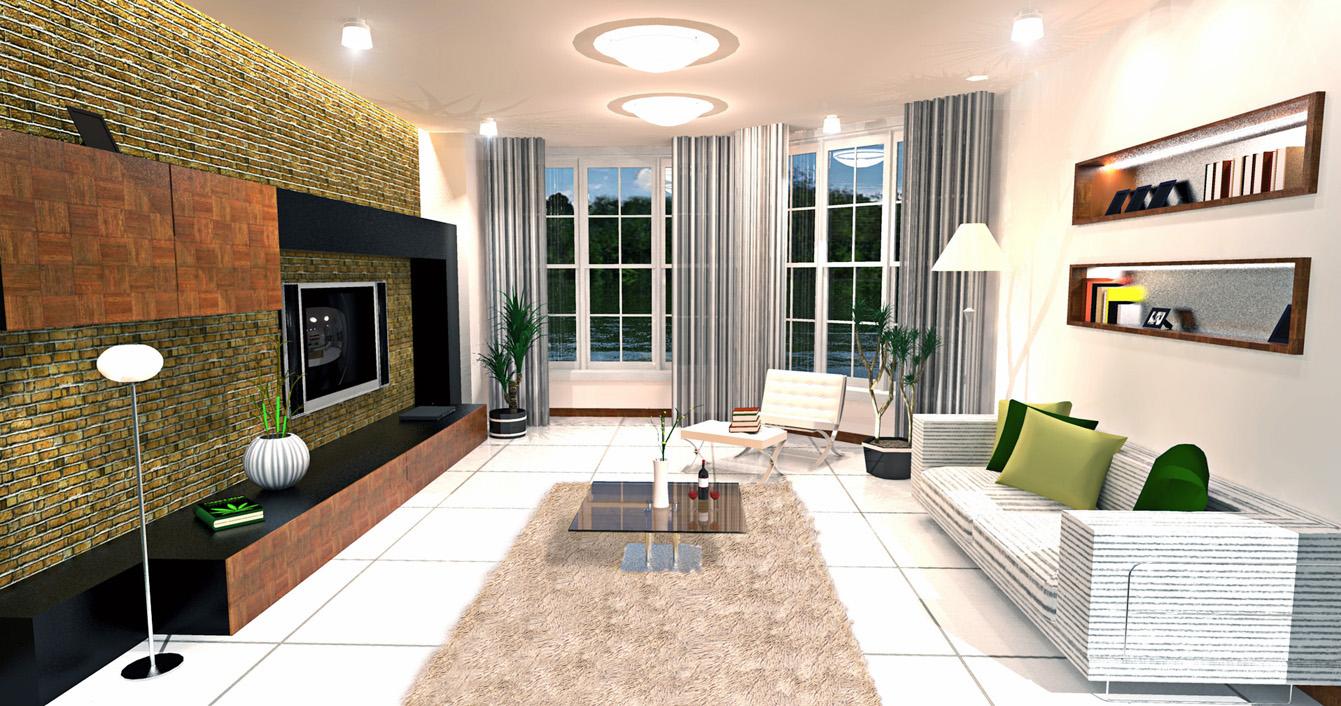 Maquete eletr nica sala de estar r stica leo mattos for Sala de estar rustica
