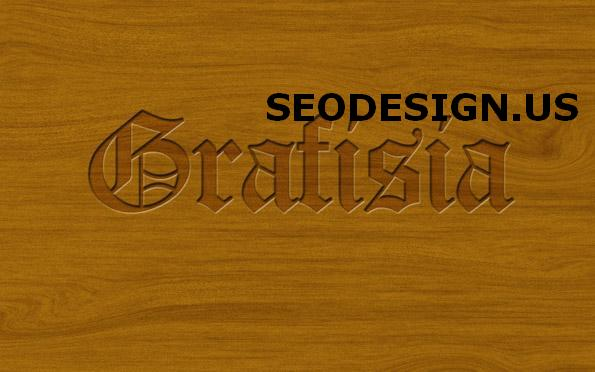 Carved Pressed Wood Text in Photoshop by grafisia