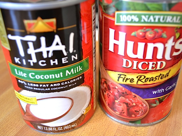can of coconut milk and a can of diced tomatoes
