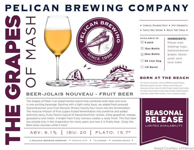 Pelican Brewing Releases The Grapes of Mash Beer Wine Hybrid