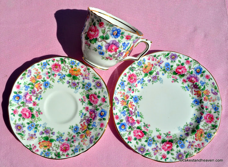 1930s Floral Bone China Teacup, Saucer, Tea Plate