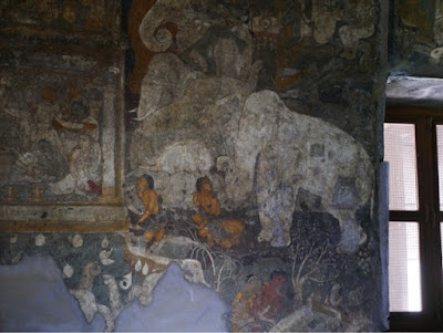A wall painting inside a cave at Ellora, showing an elephant