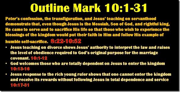 Mark 10.1-31 outline